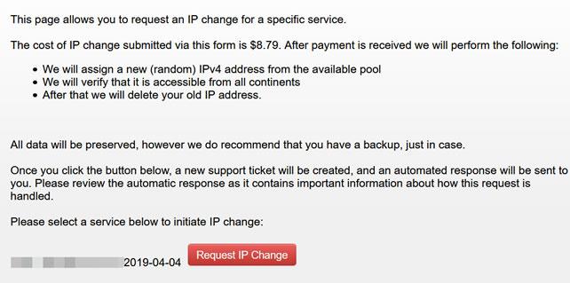 搬瓦工IP地址被封快速解决办法(8美元新购IP地址 24小时生效)